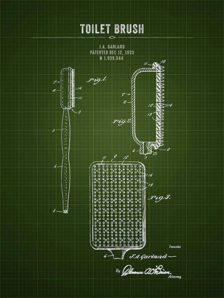 Wall Art - Digital Art - 1933 Toilet Brush - Dark Green Blueprint by Aged Pixel