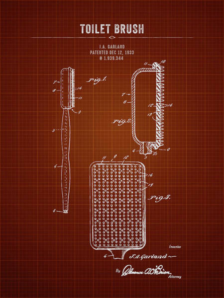 Wall Art - Digital Art - 1933 Toilet Brush - Dark Red Blueprint by Aged Pixel
