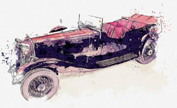Painting - 1934 Armstrong Siddeley Special Cabriolet 30hp Open Tourer 3 Watercolor By Ahmet Asar by Ahmet Asar