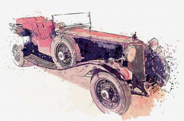 Painting - 1934 Armstrong Siddeley Special Cabriolet 30hp Open Tourer Watercolor By Ahmet Asar by Ahmet Asar