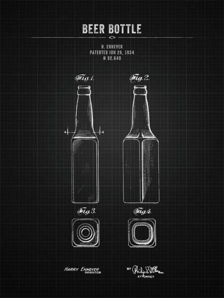 Wall Art - Digital Art - 1934 Beer Bottle - Black Blueprint by Aged Pixel