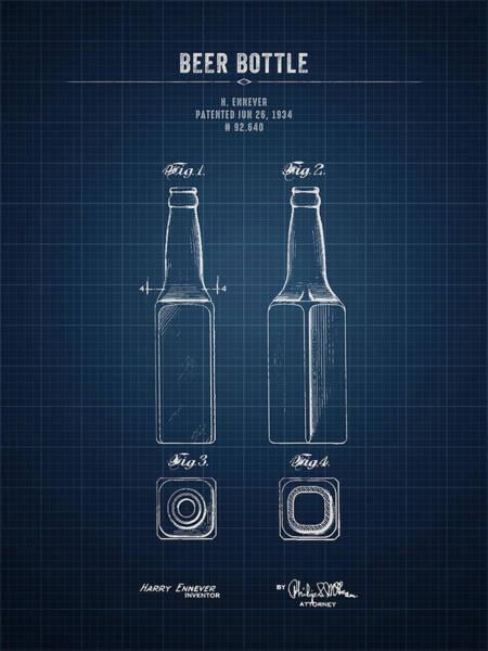 Wall Art - Digital Art - 1934 Beer Bottle - Dark Blue Blueprint by Aged Pixel