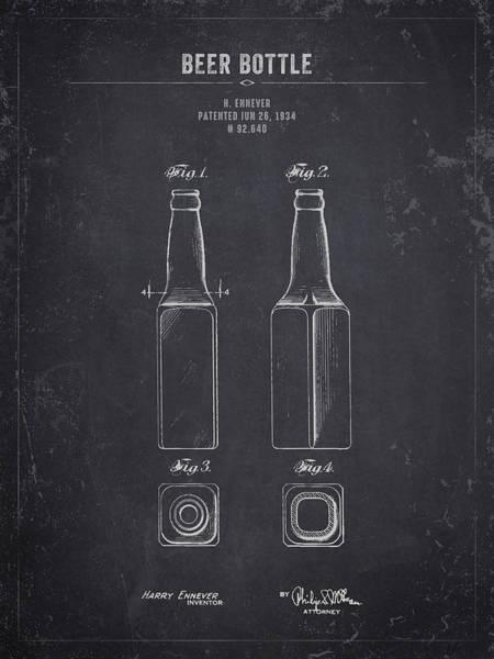 Wall Art - Digital Art - 1934 Beer Bottle - Dark Charcoal Grunge by Aged Pixel