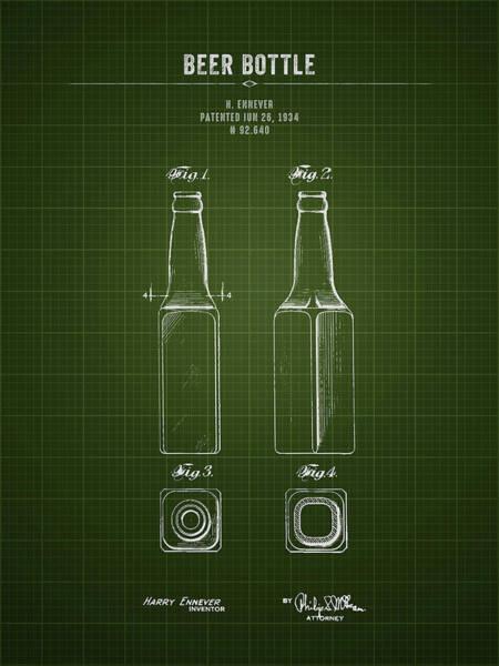 Wall Art - Digital Art - 1934 Beer Bottle - Dark Green Blueprint by Aged Pixel