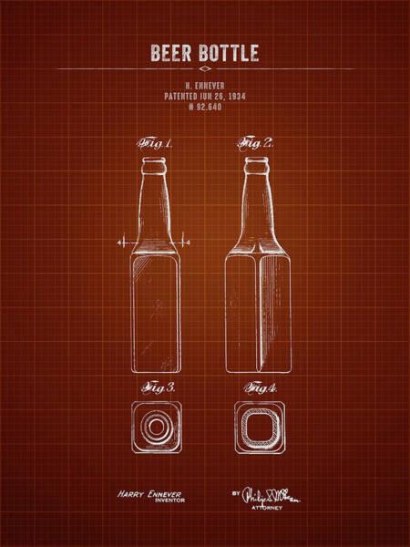 Wall Art - Digital Art - 1934 Beer Bottle - Dark Red Blueprint by Aged Pixel