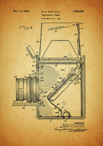Drawing - 1934 Camera Patent by Dan Sproul