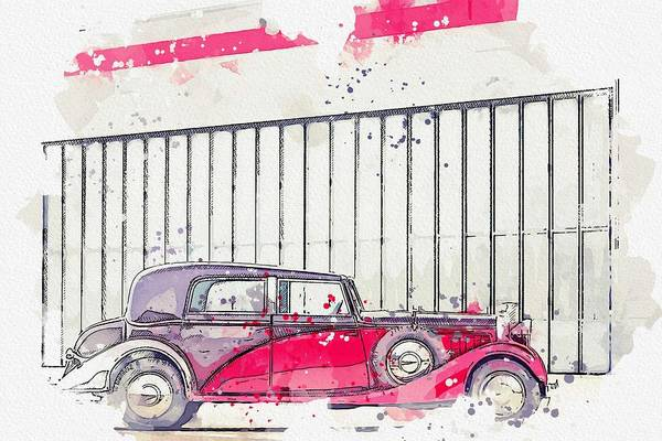 Painting - 1934 Hispano-suiza K6 Coupe De Ville By Franay 2 Watercolor By Ahmet Asar by Ahmet Asar