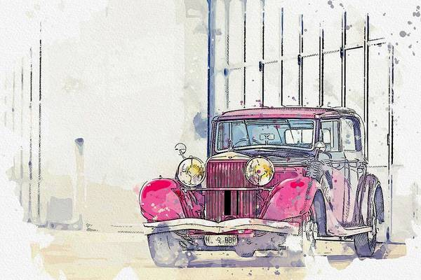 Painting - 1934 Hispano-suiza K6 Coupe De Ville By Franay 4 Watercolor By Ahmet Asar by Ahmet Asar