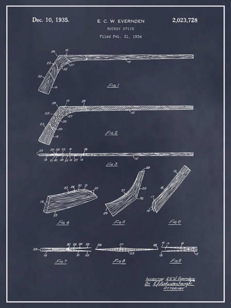 Wall Art - Drawing - 1934 Hockey Stick Patent Print Blackboard by Greg Edwards