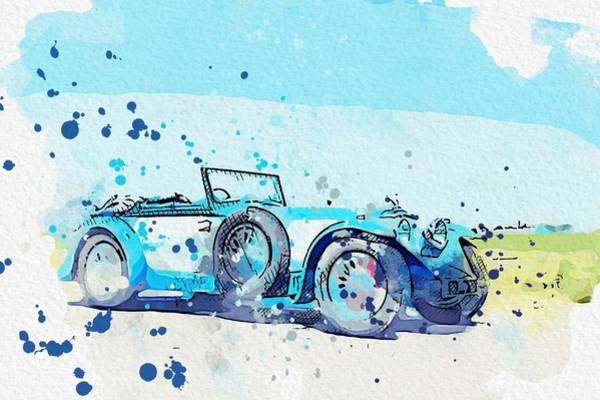 Painting - 1934 Invicta S Type Low Chassis Drophead Coupe 2 Watercolor By Ahmet Asar by Ahmet Asar