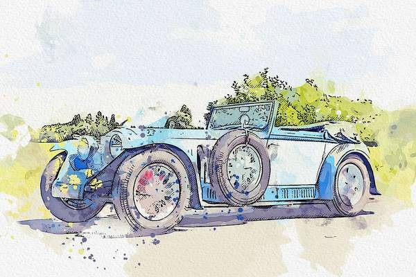 Painting - 1934 Invicta S Type Low Chassis Drophead Coupe Watercolor By Ahmet Asar by Ahmet Asar