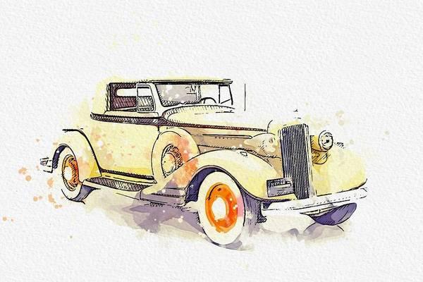 Painting - 1934 Pontiac Eight Watercolor By Ahmet Asar by Ahmet Asar