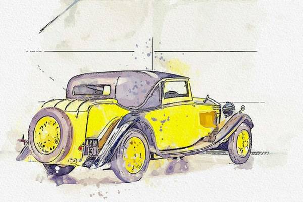Painting - 1934 Rolls-royce 20 25 H.p. Coupe By Barker 2 Watercolor By Ahmet Asar by Ahmet Asar