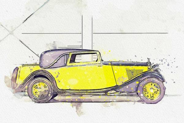 Painting - 1934 Rolls-royce 20 25 H.p. Coupe By Barker 4 Watercolor By Ahmet Asar by Ahmet Asar