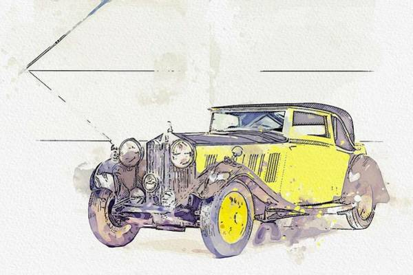 Painting - 1934 Rolls-royce 20 25 H.p. Coupe By Barker Watercolor By Ahmet Asar by Ahmet Asar