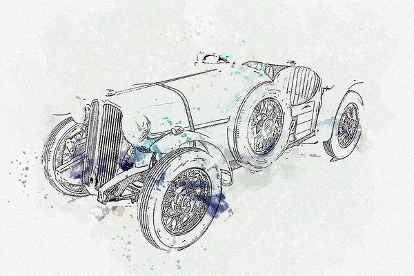 Painting - 1934 Rover 10 Special 2 Watercolor By Ahmet Asar by Ahmet Asar