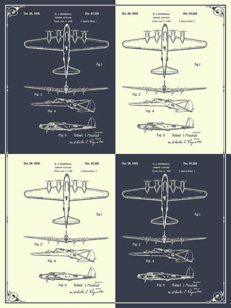 Wall Art - Drawing - 1935 B17 Flying Fortress Blackboard And Cream Patent Print by Greg Edwards