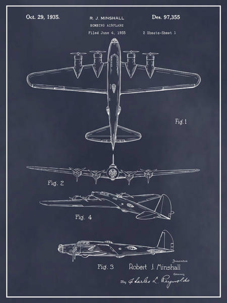 Wall Art - Drawing - 1935 B17 Flying Fortress Blackboard Patent Print by Greg Edwards