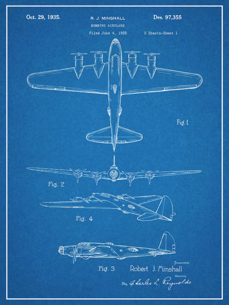 Wall Art - Drawing - 1935 B17 Flying Fortress Blueprint Patent Print by Greg Edwards
