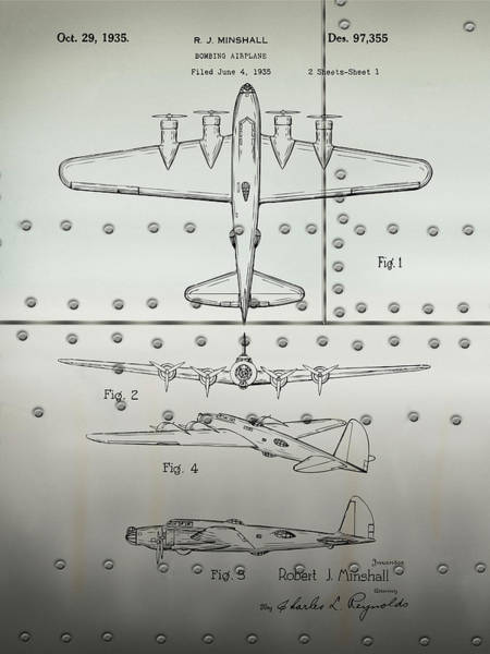Wall Art - Drawing - 1935 B17 Flying Fortress Metal Patent Print by Greg Edwards