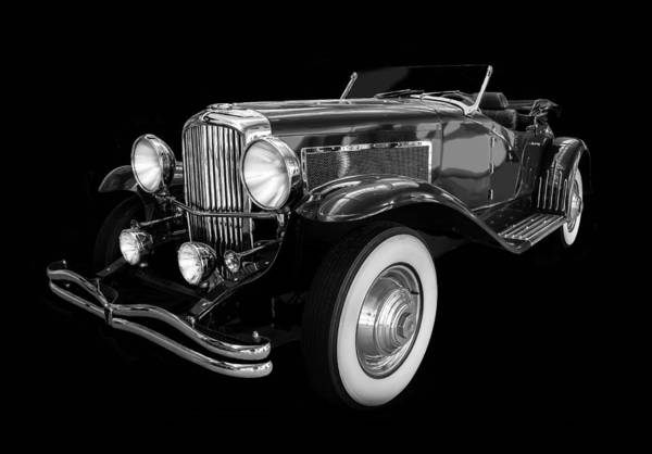 Photograph - 1935 Duesenberg Ssj Roadster Black And White by TL Mair