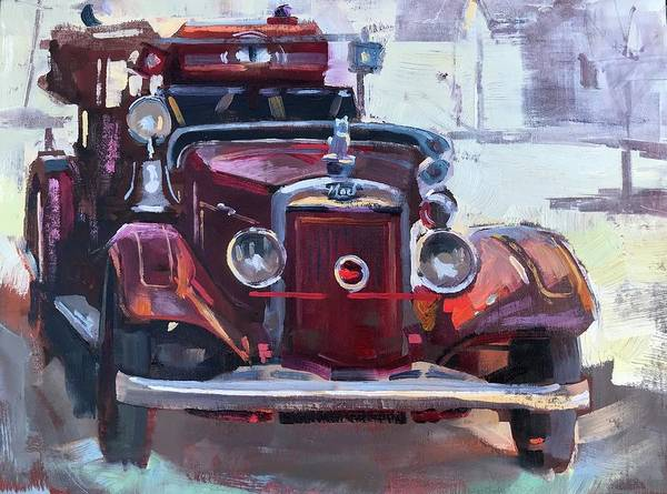 Vintage Fire Truck Painting - 1935 Mack Fire Truck by Spencer Meagher