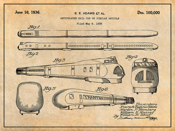 Wall Art - Drawing - 1935 Union Pacific M-10000 Railroad Antique Paper Patent Print by Greg Edwards