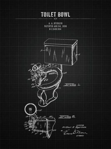Wall Art - Digital Art - 1936 Toilet Bowl - Black Blueprint by Aged Pixel