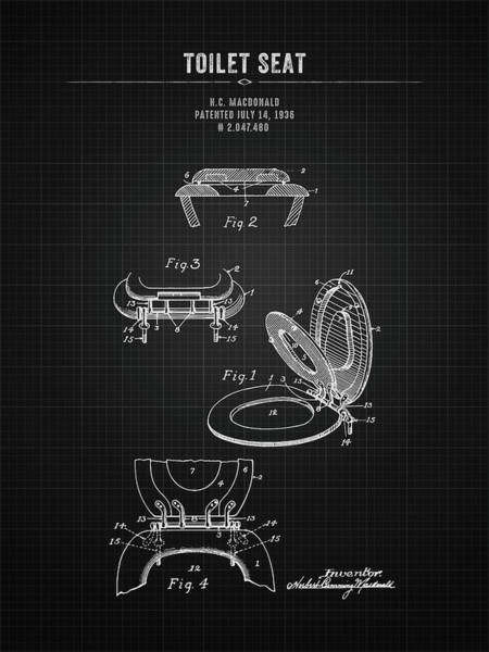 Wall Art - Digital Art - 1936 Toilet Seat - Black Blueprint by Aged Pixel