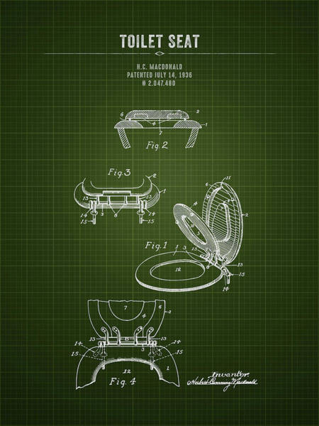 Wall Art - Digital Art - 1936 Toilet Seat - Dark Green Blueprint by Aged Pixel