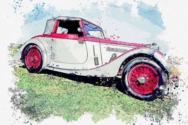 Painting - 1937 Aston Martin 15 98 2 Watercolor By Ahmet Asar by Ahmet Asar