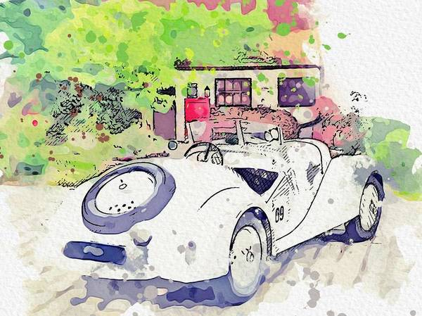 Painting - 1937 Bmw 328 Roadster 2 Watercolor By Ahmet Asar by Ahmet Asar