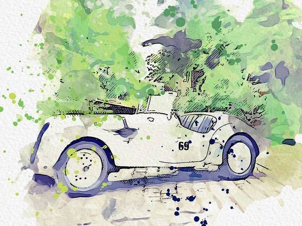 Painting - 1937 Bmw 328 Roadster 4 Watercolor By Ahmet Asar by Ahmet Asar