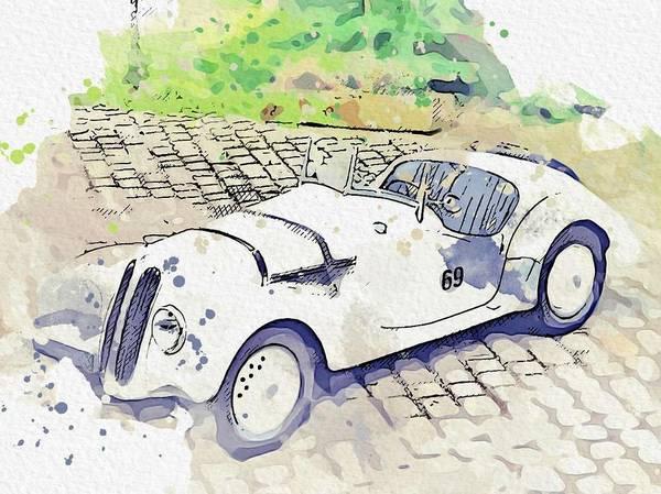 Painting - 1937 Bmw 328 Roadster Watercolor By Ahmet Asar by Ahmet Asar