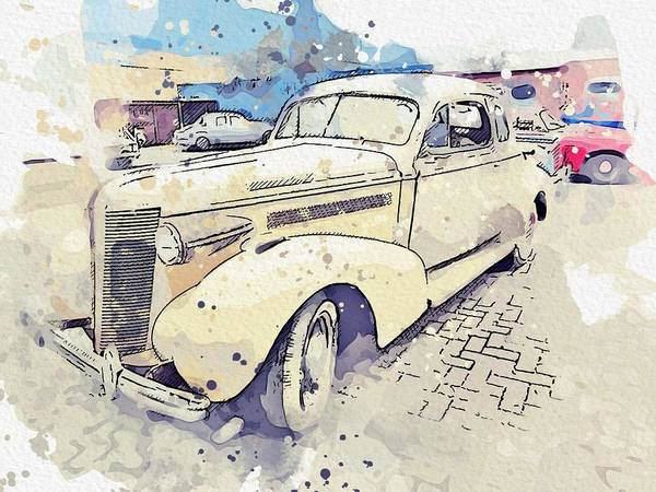 Painting - 1937 Buick Model 38 Watercolor By Ahmet Asar by Ahmet Asar