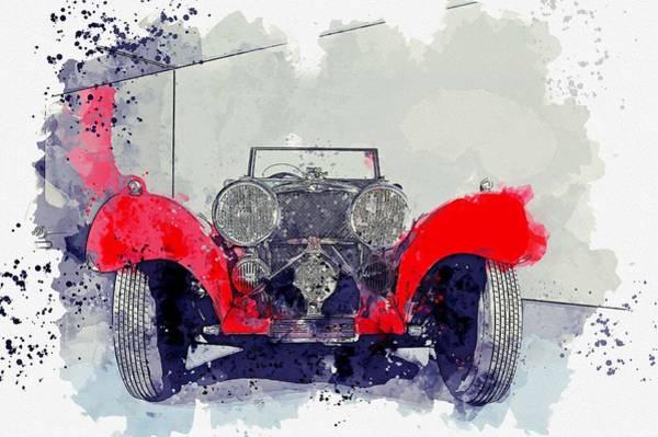 Painting - 1937 Jaguar Ss 100 3 Watercolor By Ahmet Asar by Ahmet Asar