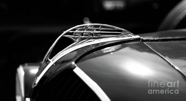 Wall Art - Photograph - 1937 Plymouth Hood Ornament In Black And White by Paul Ward
