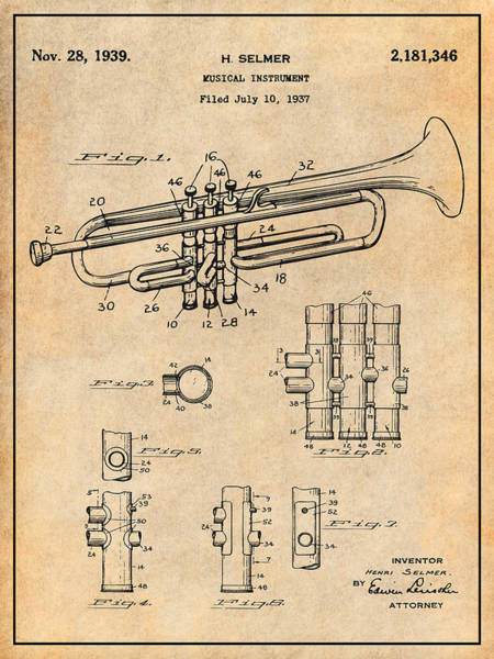 Wall Art - Drawing - 1937 Trumpet Antique Paper Patent Print by Greg Edwards