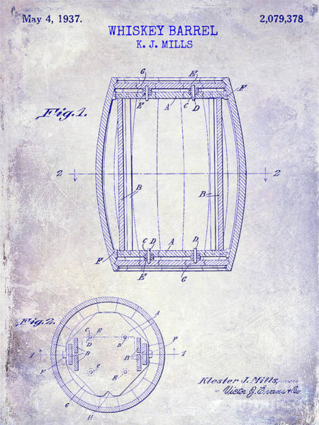 Cocktail Shaker Photograph - 1937 Whiskey Barrel Patent Blueprint by Jon Neidert