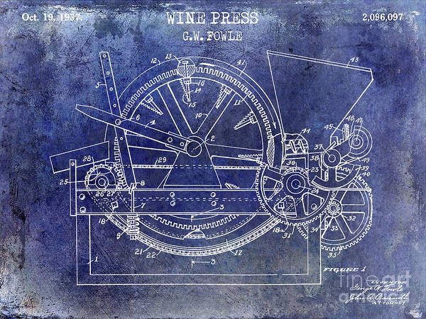 Wall Art - Photograph - 1937 Wine Press Patent Blue by Jon Neidert