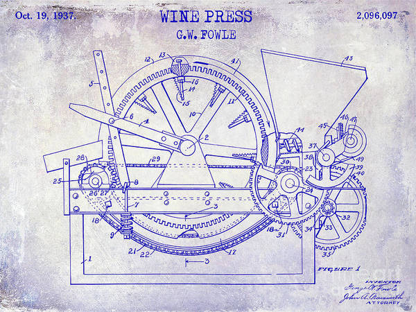 Wall Art - Photograph - 1937 Wine Press Patent Blueprint by Jon Neidert