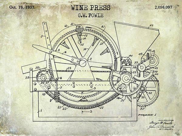 Wall Art - Photograph - 1937 Wine Press Patent by Jon Neidert
