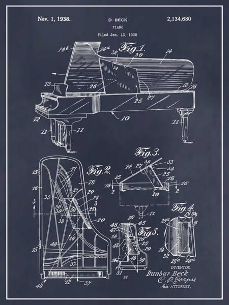Wall Art - Drawing - 1938 Beck Steinway Grand Piano Patent Print Blackboard by Greg Edwards
