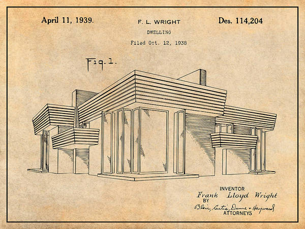 Wall Art - Drawing - 1938 Frank Lloyd Wright House Dwelling Antique Paper Patent Print by Greg Edwards