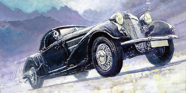 Roadster Wall Art - Painting - 1938 Horch 855 Special Roadster by Yuriy Shevchuk