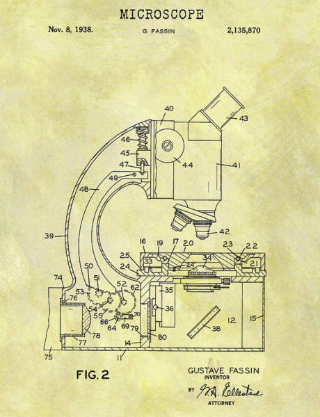 Drawing - 1938 Microscope Patent by Dan Sproul