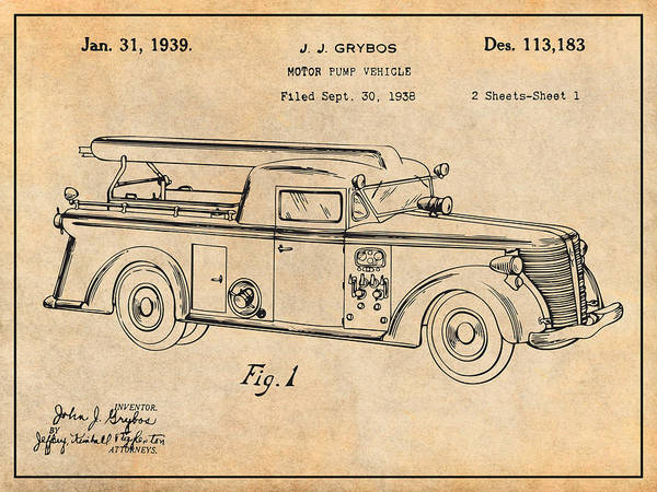 Pump Drawing - 1938 Motor Pump Vehicle Antique Paper Patent Print by Greg Edwards