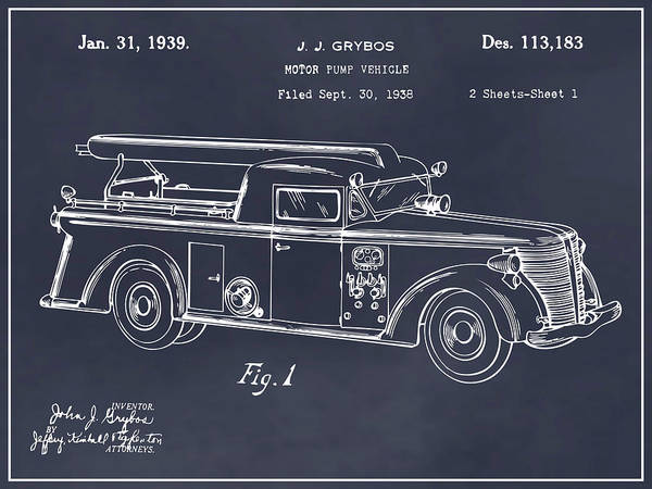 Pump Drawing - 1938 Motor Pump Vehicle Blackboard Patent Print by Greg Edwards