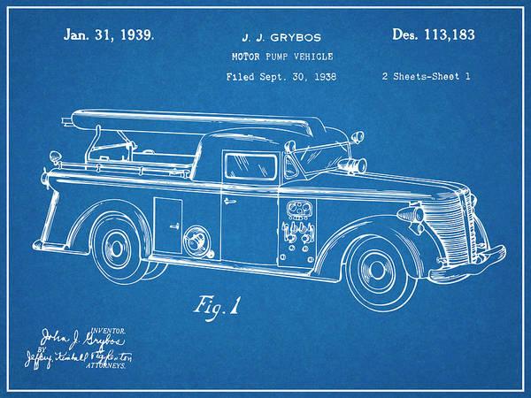 Pump Drawing - 1938 Motor Pump Vehicle Blueprint Patent Print  by Greg Edwards
