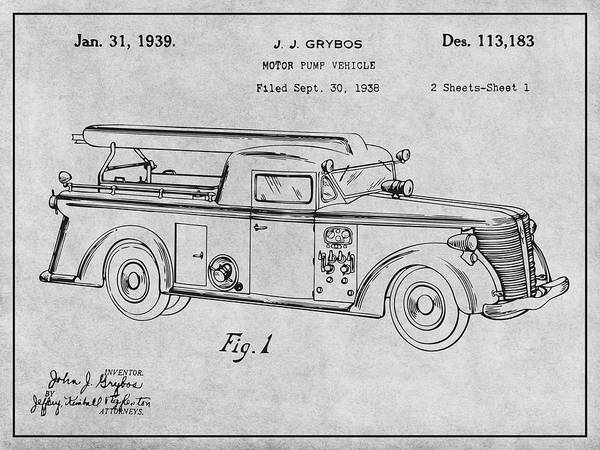 Pump Drawing - 1938 Motor Pump Vehicle Gray Patent Print by Greg Edwards